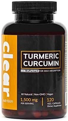 Curcumin Turmeric with Black Pepper (BioPerine for Maximum Absorption) Made with 95% Curcuminoids, Turmeric Root Powder, 120 Vegetarian Capsules, 1,500 mg