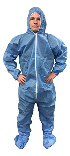 Safe N' Clean SMS Blue Coverall Suit Hood, Boots, and Elastic Wrists 25/case by TheSafetyHouse by TheSafetyHouse