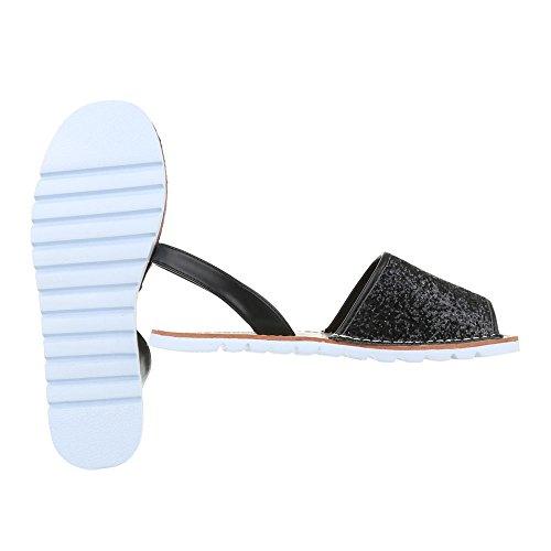 Ital-Design Komfortsandalen Damen Schuhe Römersandalen Leichte Sandalen/Sandaletten Schwarz