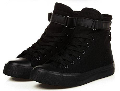 ACE SHOCK Womens Casual High Top Flat Canvas Shoes Fashion Sneakers Black 8QSYcKb