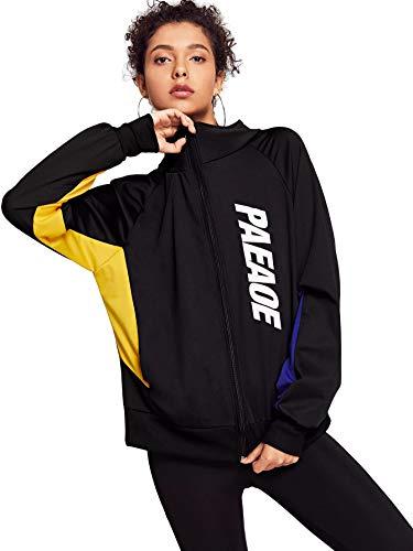 SweatyRocks Women's Color Block Letter Print Zip up Bomber Jacket Coat Black S