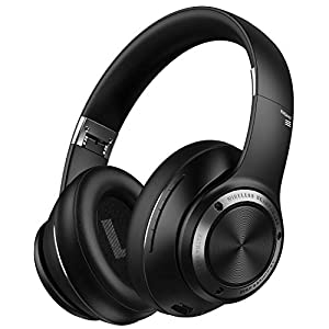 Picun Bluetooth Headphones with Low Latency Mode, Wireless Headphones Over Ear with 80 Hours Playtime, Hi-Fi Stereo Sound and Comfortable Earpads Headset for Game/Travel/Online Class Black