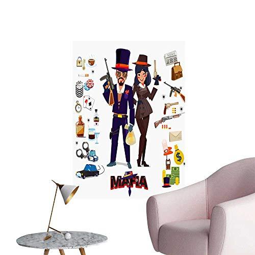 SeptSonne Vinyl Wall Stickers Mafia Character Design Male Female icon Set undergroun Perfectly Decorated,24