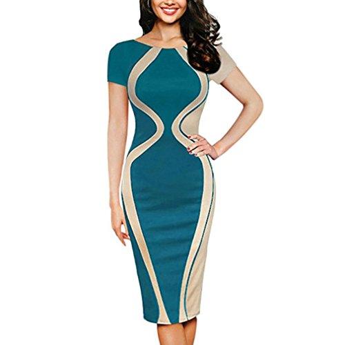 Women Dress For Work,Lelili Fashion Short Sleeve Round Neck Stripe Color Block Patchwork Bodycon Pencil Dress (L(Asian L=US M), Green)