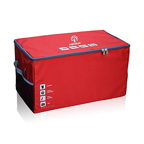 Auto Car Trunk Organizer Foldable Cover Waterproof Non Slip Bottom Cargo Storage Multiple Compartments for Any Car, SUV, Mini-van,Large Capacity 75L,Washable (Red)