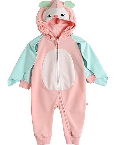 Vaenait baby 6-24M Unisex Boys Girls Infant Hooded Jumpsuit Rompers Pink Owl S -