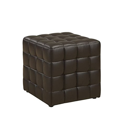Leather Brown Ottoman Dark (Monarch Specialties Leather-Look Ottoman, Dark Brown)