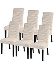 SearchI Spandex Dining Room Chair Covers Stretch Printed Chair Slipcover, Removable Washable Kitchen Chair Covers Protector for Dining Room, Hotel, Ceremony, Banquet …