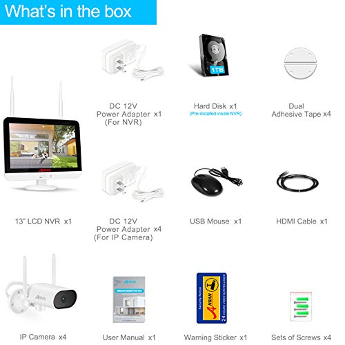 【2K,Pan,8CH Expandable with Audio】 ANRAN All in One Wireless Security Camera System with 13