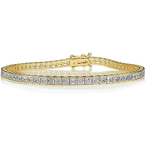 (Double Accent 14K Gold 2.5mm Princess Cubic Zirconia Channel Set Tennis Bracelet (Available Size 7, 7.25, 7.5 Inches), 7.5)