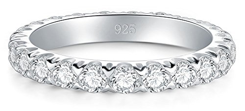 BORUO 925 Sterling Silver Ring, Cubic Zirconia CZ Wedding Band Stackable Ring 3mm Size 7 by BORUO (Image #1)