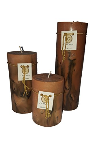 Scented Pillar Candle - Long Burning Handmade - Gingerbread scent (Set of 3)