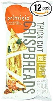Primizie Snacks Crispbreads, Thick Cut, Cheese, Smoked Dutch Gouda & Garlic, 6.50 Oz, Pack Of 12