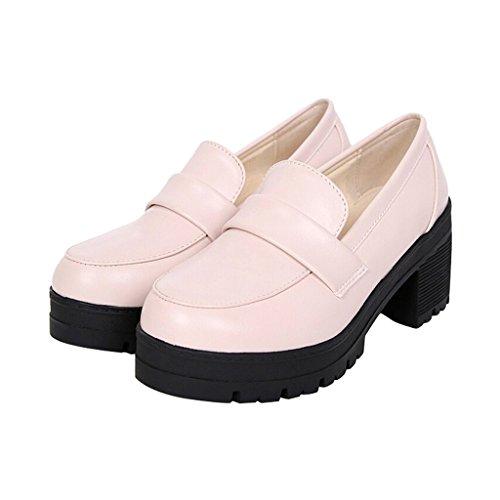 Shoes PU On Time Mid Dear Slip Women Heel White WUw0Fwq7x
