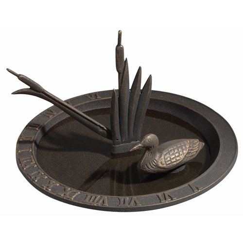 Whitehall Products Loon Sundial Birdbath, French - Sundial Bronze