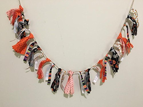 (Halloween Fabric Tassel Garland/Garland/banner/Halloween decor/fabric garland/fall banner/rustic Halloween/halloween decoration/pumpkin)
