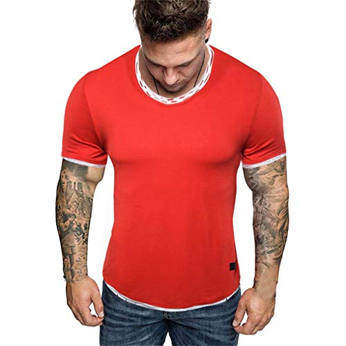 (Men Causal Fitness T-Shirt, Man Solid Short Sleeve Tops Fitness Running Workout Blouse Summer Beach Tracksuits Red)