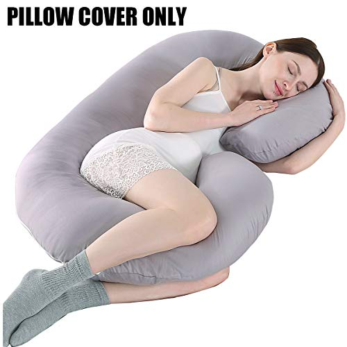 KWLET Pregnancy Pillow Cover/C Shaped Pregnancy Pillow Cover/Pregnancy Pillow Case/Maternity Pillow Case/Pregnancy Body Pillow Cover/Pillowcase for Pregnancy Pillow 60x32 Inch Gray