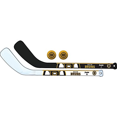 Franklin Sports NHL Boston Bruins Mini Hockey 2 Piece Player Stick Set for kids (Nhl Fan Franklin Bruins Boston)