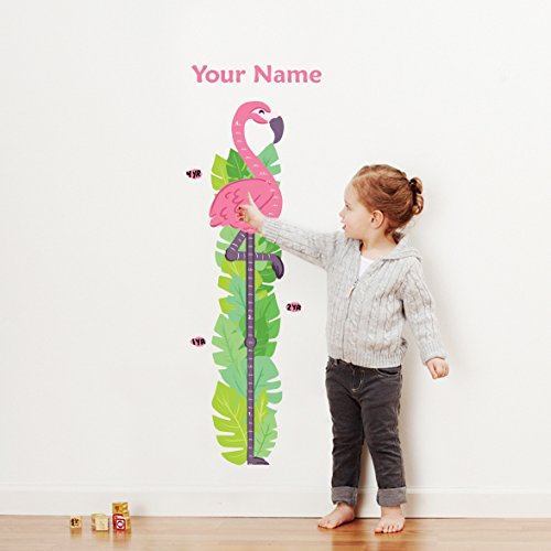 Personalized Flamingo Growth Chart Wall Decal for Nursery, Kids Room by Oliver's Labels