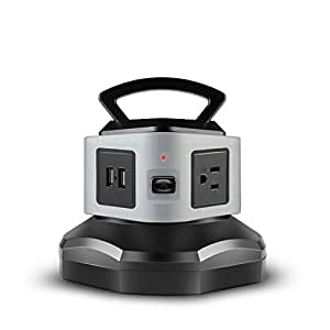 TNP Power Strip with USB Surge Protector - 3 AC Outlet + 2 USB Port Charger Charging Station Power Supply Adapter Multi Socket Plug Powerstrips Bar Stand Tower, Individual Switch, 6FT Extension Cord