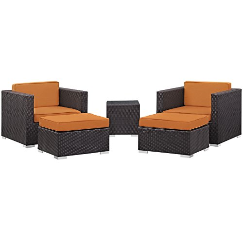 Modway Convene Wicker Rattan 5-Piece Outdoor Patio Furniture Set in Espresso Orange