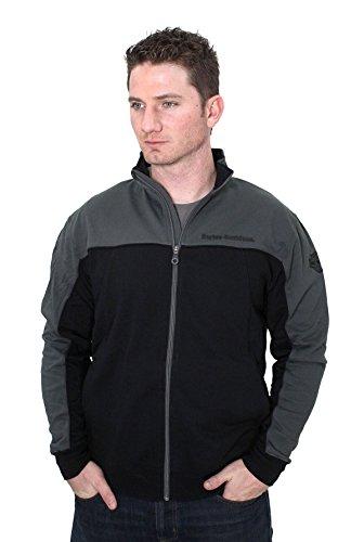 Chrome and Rubber B&S Mock Neck Full Zip Fleece Charcoal Long Sleeve Sweatshirt (Harley Davidson Mens Fleece)