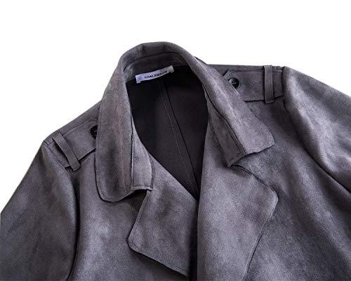 coat Cardigan Veste Outwear Revers Trench Le Gray Printemps Pour Daim Noblemoon Longues Manches À Femme zEdxTwpq