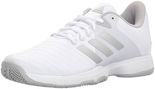 adidas Performance Women's Barricade Court Tennis Shoe, White/Matte Silver/Grey, 5 M US