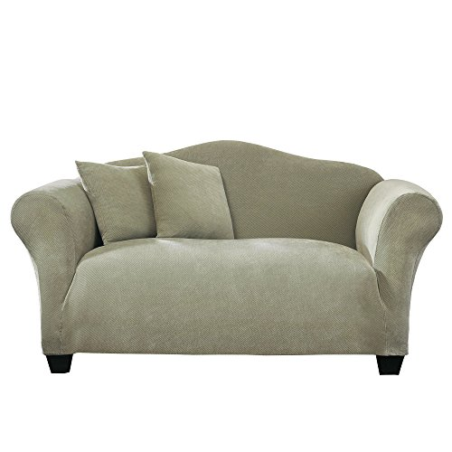 (SureFit Stretch Pique Knit - Loveseat Slipcover - Sage)