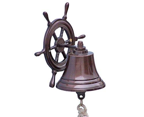 "Hampton Nautical Hanging Ship Wheel Bell, 7"", Antique Copper"