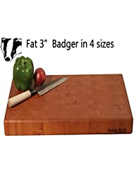 Fat Badger Block 3 Cherry End Grain Butcher Block Cutting Board Without Rubber Feet Reversible 14 X 22 X 3 Iches