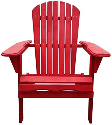 All Weather Adirondack Chair Wooden Furniture for Conversations on Deck Patio Outdoor Garden Poolside Beach (1, Red) (Adirondack Breezesta)