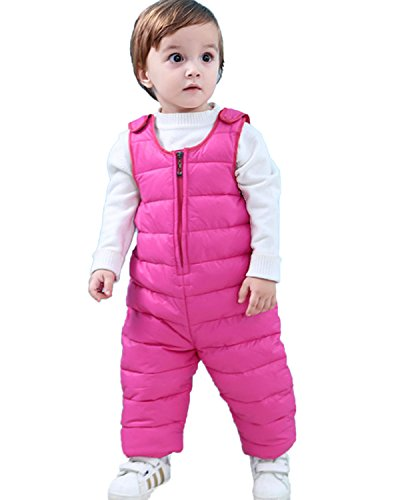 Kidsform Infant Overall Bib Pants Zip Sleeveless Down Coat Snowsuit Outfits Outwear Rose 1-2Y - Infant Snow Pants