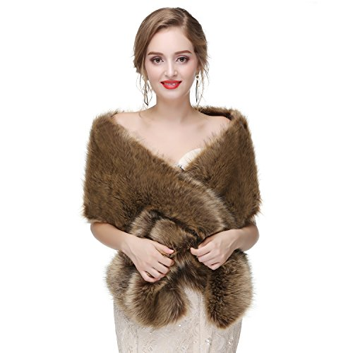 Ikerenwedding Women's Thicken Faux Fur Wedding Shawl Scarf Wraps for Evening/Party/Show Brown One Size