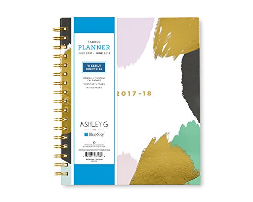 "Ashley G for Blue Sky 2017-2018 Academic Year Weekly & Monthly Planner, Twin-Wire Bound, 7"" x 9"", Abstract Design Hardcover"