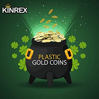 KINREX Plastic Gold Coins - Mega Novelty Pack - St. Patricks Coin - 400 Count - Great for Kids, Toddlers, Games, Teachers: Toys & Games