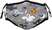 Halloween Pattern Face Mask Washable Colorful Reusable Cute Cloth Fashion Sports Masks for Women Men Black