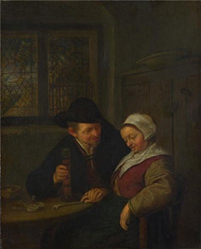 Perfect Effect Canvas ,the High Definition Art Decorative Canvas Prints Of Oil Painting 'Adriaen Van Ostade - A Peasant Courting An Elderly Woman,1653', 30x37 Inch / 76x94 Cm Is Best For Game Room Gallery Art And Home Decor And Gifts