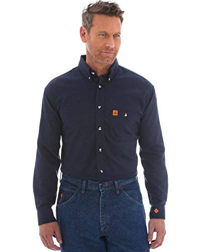 (Wrangler Men's Riggs Fr Flame Resistant Solid Twill Work Shirt Navy)