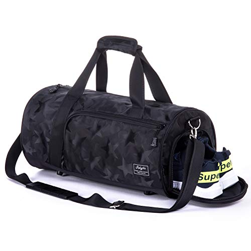 Waterproof Sports Gym Bag with Shoes Compartment Travel Duffel Bag (Galaxy Black, Large) (Galaxy Brands Bag)
