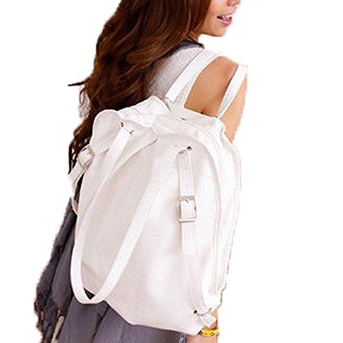 Top Shop Womens Leather Backpack Travel Daypack Tote School Bags Shoulder Handbags White Satchels