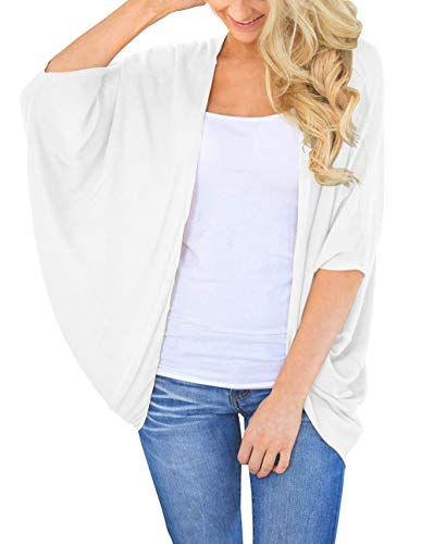 Kimono Cardigans for Women Summer Open Front Cover Up Plus Size (White,2XL)