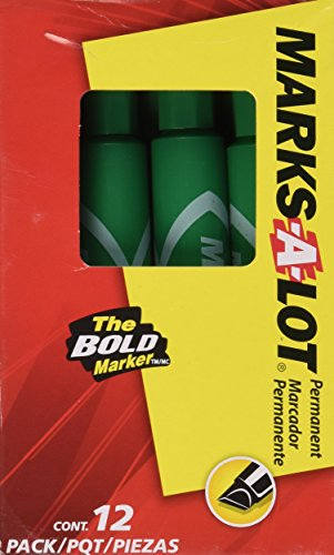 Marks-A-Lot Permanent Marker, Regular Chisel Tip, Green, Dozen - Green Mark Corp