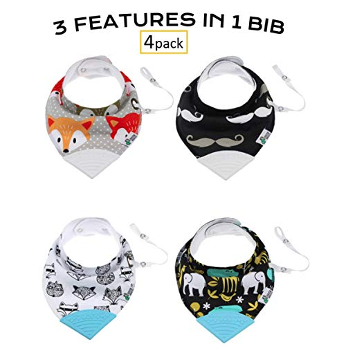 Tickles & Wiggles Organic Cotton Bandana Baby Bibs for Teething, Drool, Food - Shower Registry Gifts for Infants, Teether, Adjustable Snaps, Pacifier/Toy -