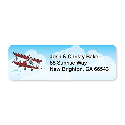 Red Airplane Set of 215 Sheeted Address Labels