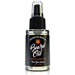 """The Manskape Wild Willie's Liquid Gold Beard Oil, the Only Beard Oil """"Nut Free"""", Made with 10 Organic Ingredients to Condition, Treat and Promote a Fast Growing, Healthy and Study Beard, 2 oz."""