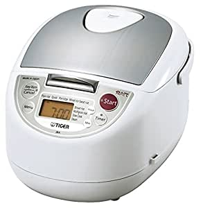Tiger JBA-T10U-WU 5.5-Cup (Uncooked) Micom Rice Cooker with Food Steamer & Slow Cooker, White