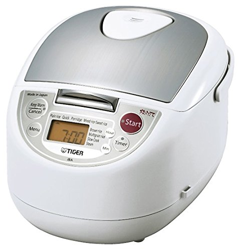 Tiger JBA-T18U-WU 10-Cup (Uncooked) Micom Rice Cooker with Food Steamer & Slow Cooker, White
