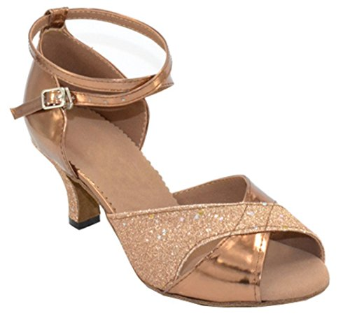 Latin Synthetic Buckle Low Heel Wrap Ankle TDA Shoes Dance Womens Glitter Gold Ballroom 0zwOHqcfx6